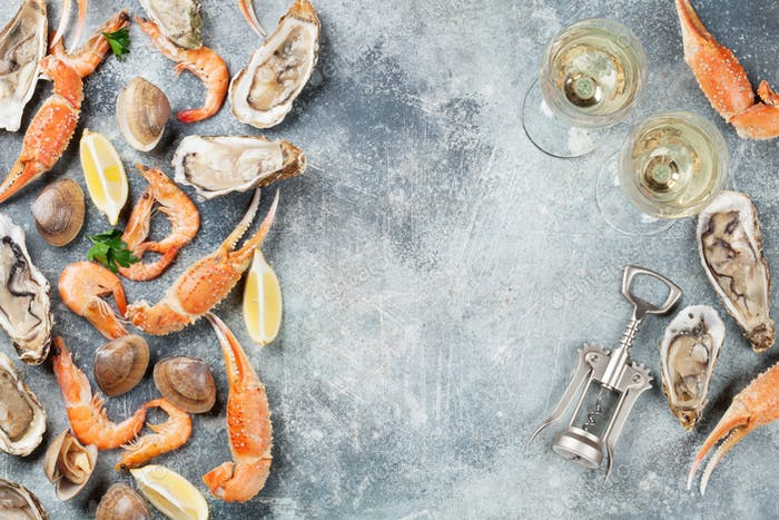 Seafood and white wine
