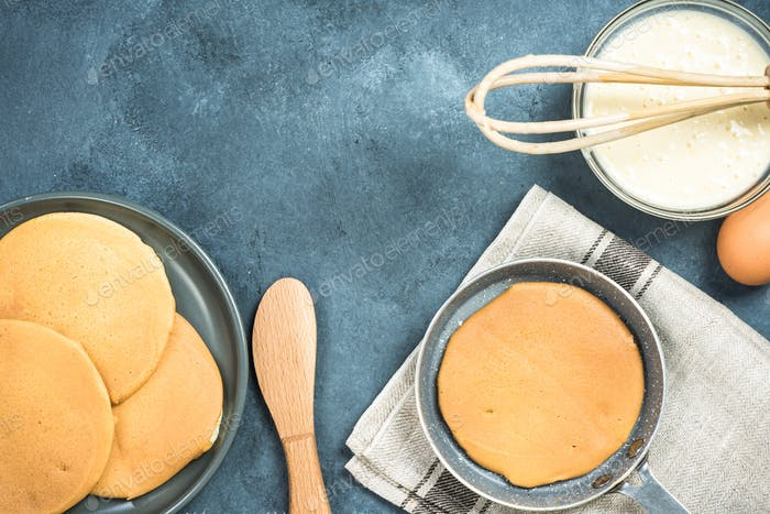 Preparation of pancakes , top view with copy space