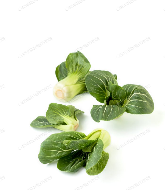 Beans Chinese cabbage Pak-choi (salad) on a clean white backgrou
