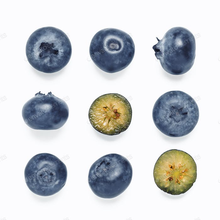 Seamless pattern with blueberry, isolated on white