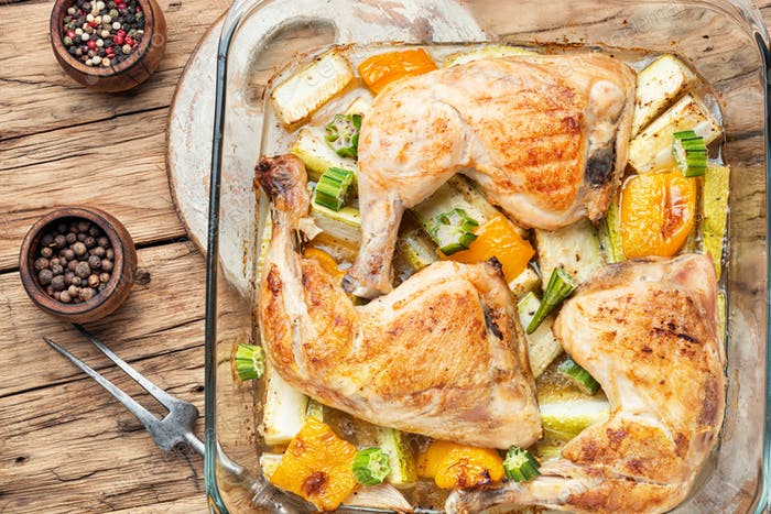 Baked chicken with zucchini