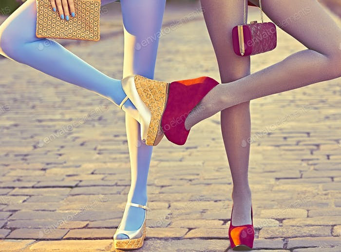 Fashion urban people, friends, outdoor. Womens