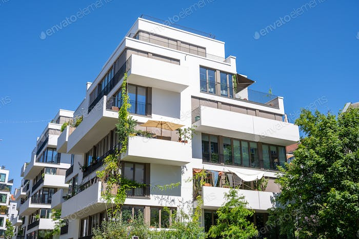 White upscale apartment building