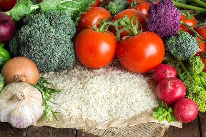 Basmati-Reis und Gemüse