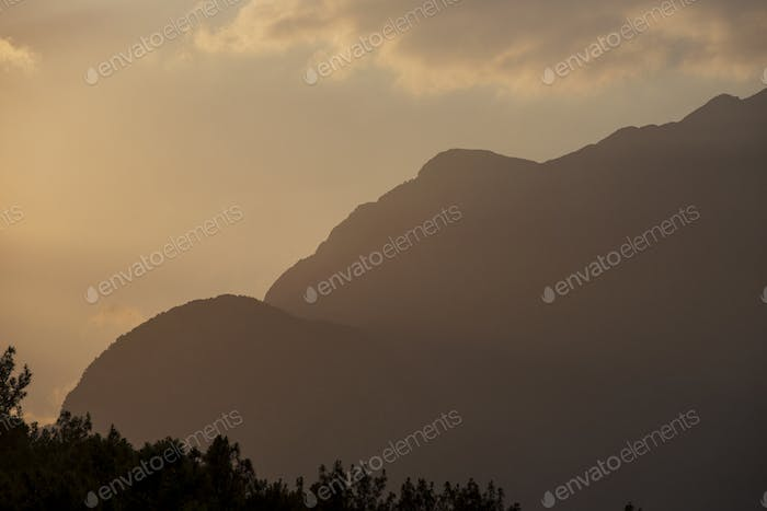Beautiful landscape in the mountains at sunset.