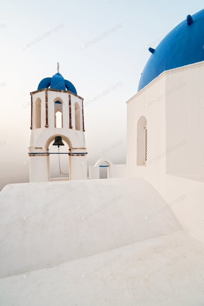 Bell tower in an Orthodox Church in Santorini, Greece