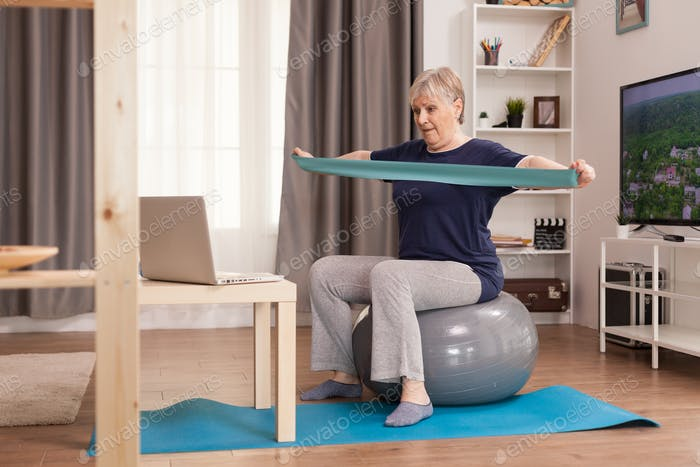 60 years old woman exercising