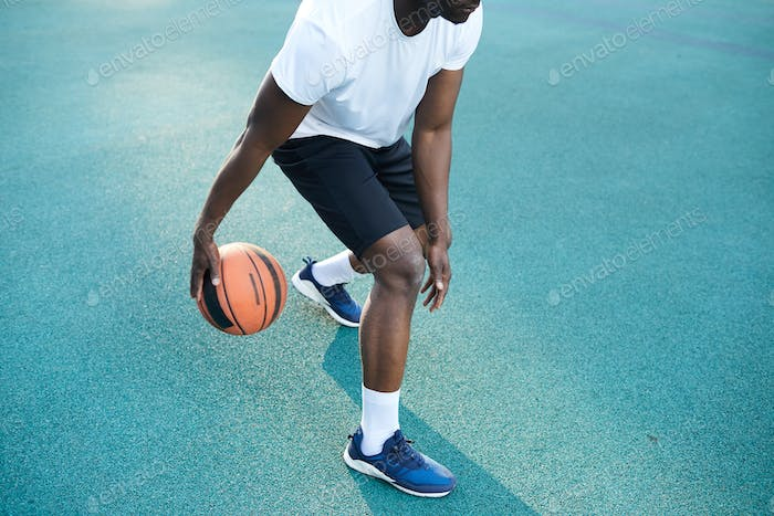 African-American Man Playing Basketball Closeup