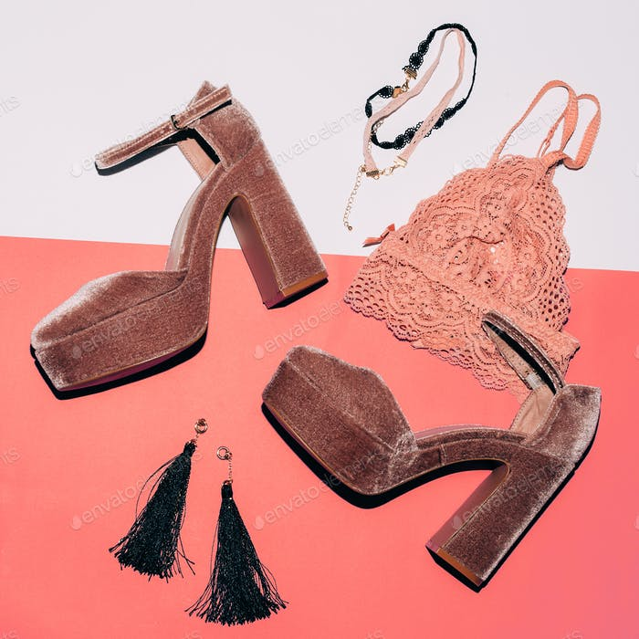 Stylish suede shoes. High heel. Fashion jewelry and lace underwe