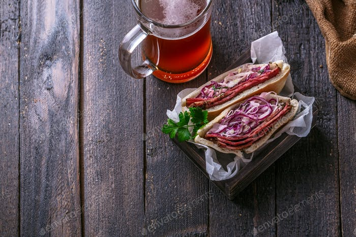 Pastrami and coleslaw sandwich, rustic style, copy space