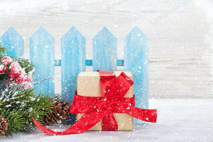 Christmas gift box and xmas fir tree