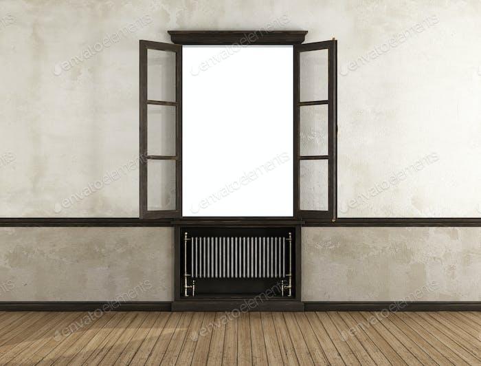 Empty retro room with open window