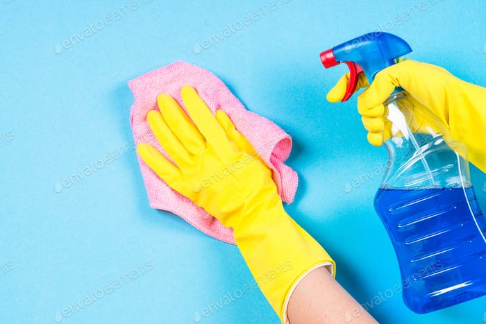 Cleaning concept on blue background