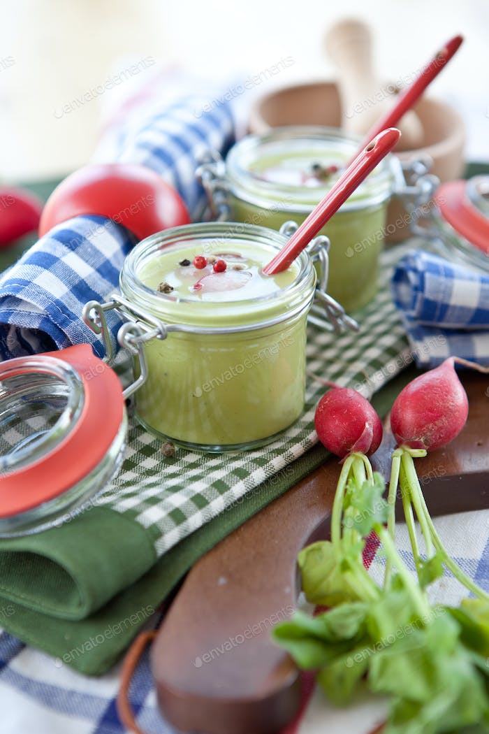 Two small jars with pea soup