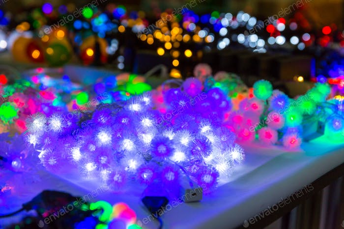 Christmas decoration closeup, lights, xmas garland