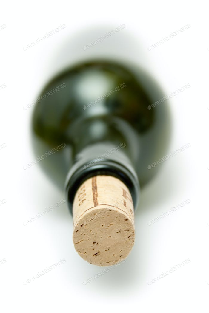 Corked Green Wine Bottle Isolated on a White Background