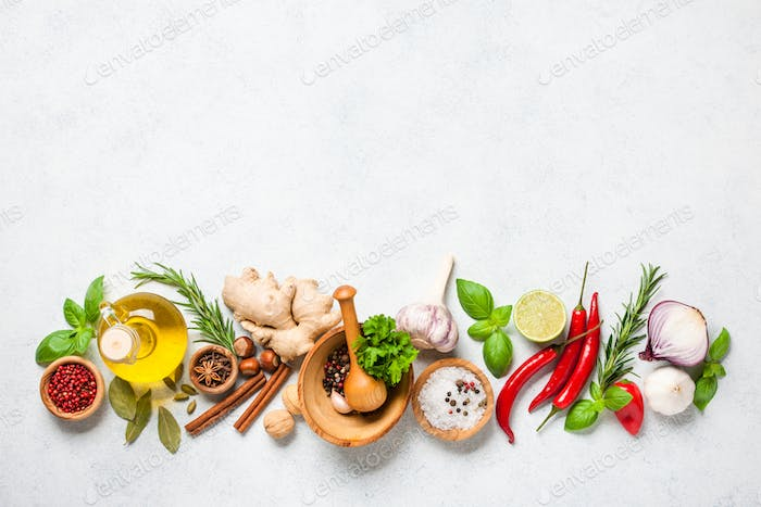 Cooking background with ingredients