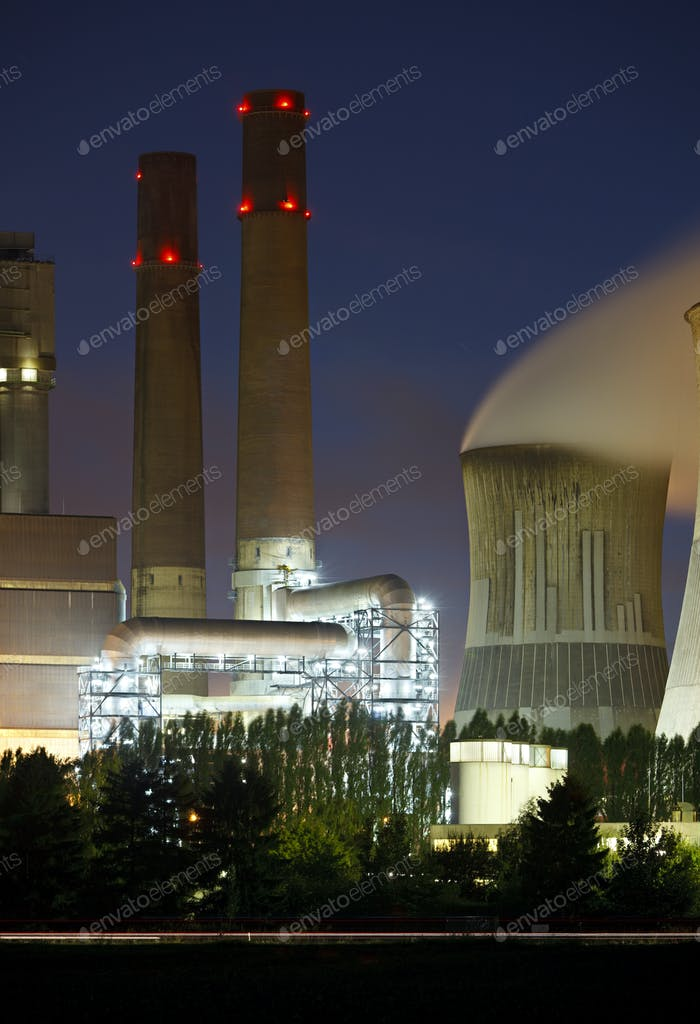 Brown Coal Power Station Detail At Night