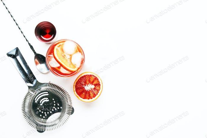 Trendy alcoholic cocktail Negroni