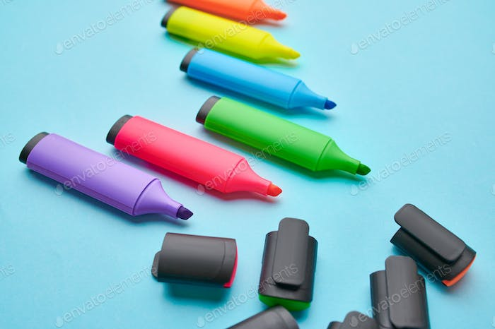 Set of opened colorful permanent markers
