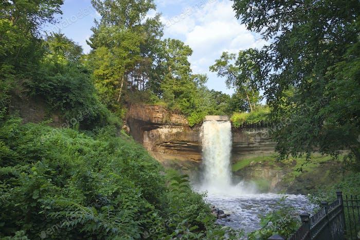Minnehaha Falls in Minneapolis Minnesota in Morning Light