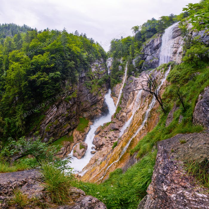 mountain waterfall in alps