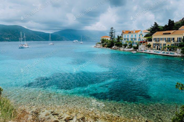 Clouds motion seascape over Fiskardo village on Kefalonia Island Greece
