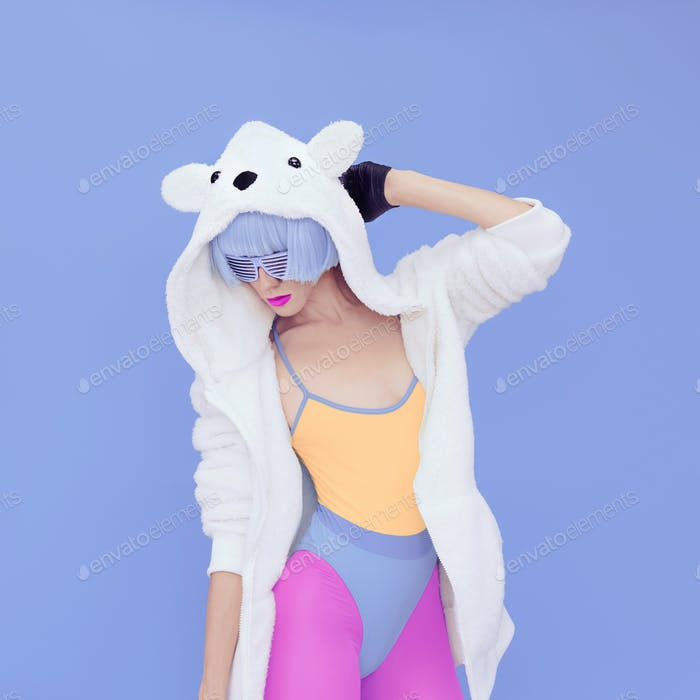 crazy girl in hoodie Teddy Bear on a blue background.