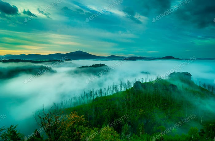 Sunrise in Bohemian Switzerland, Czech republic