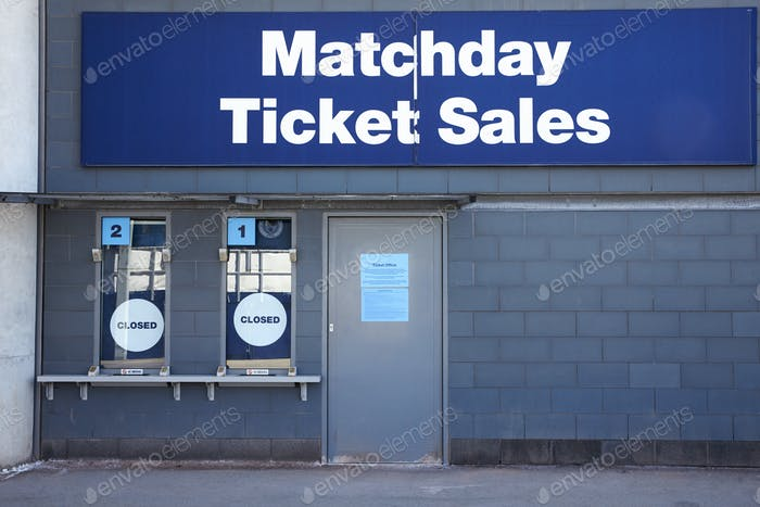Manchester, UK - 4 May 2017: Ticket Booths At Manchester City Football Stadium