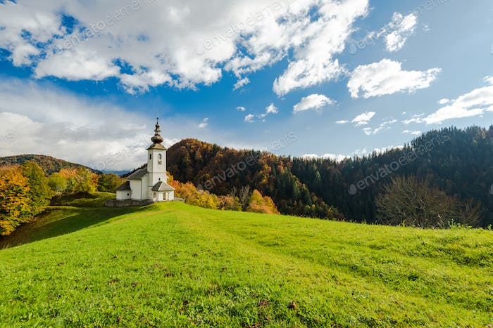 Sv. Marko chapel in Lower Danje, Slovenia at autumn colors