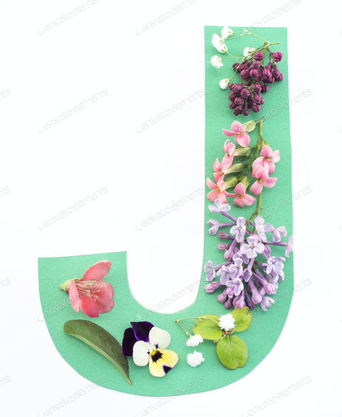 Letter J Made of Spring Flowers and Paper