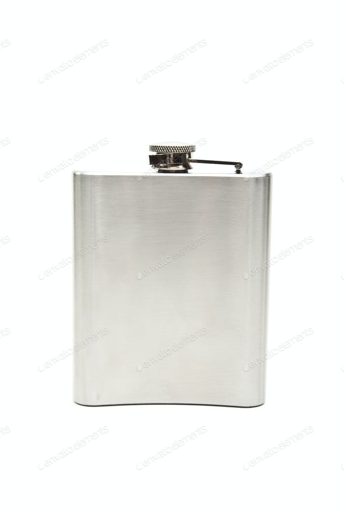 Stainless hip flask isolated