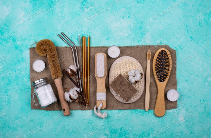 Zero waste accessories. Pumice, comb, toothbrush and washcloth