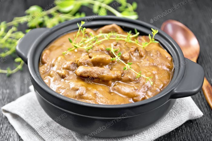 Goulash of beef in pan on napkin