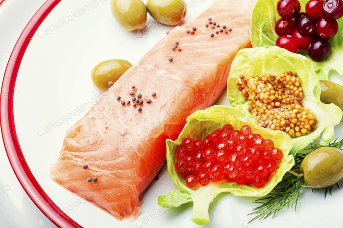 Salmón salado apetitoso