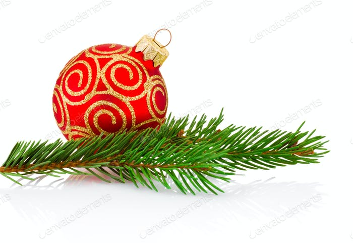 Christmas red decoration bauble and fir tree branch Isolated on