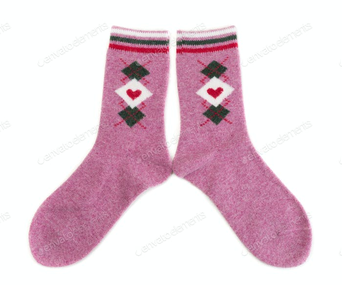 Pair sock isolated on a white background