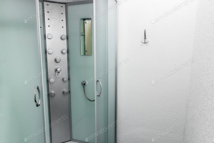 Shower room with cabin and lockers in physiotherapy rehab clinic
