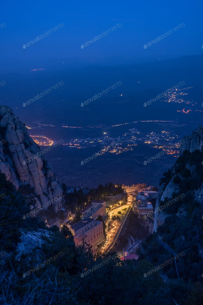 Montserrat Monastery at Night