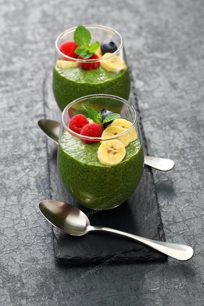 homemade matcha green tea chia seed pudding
