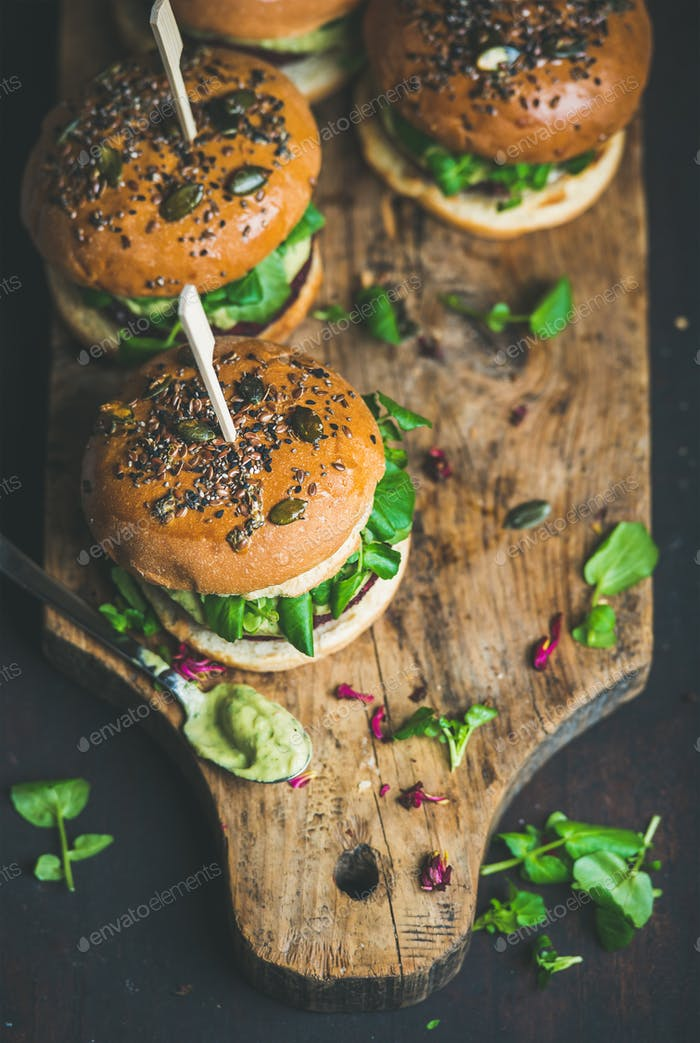 Healthy homemade vegan burger with beetroot-quinoa patty, copy space