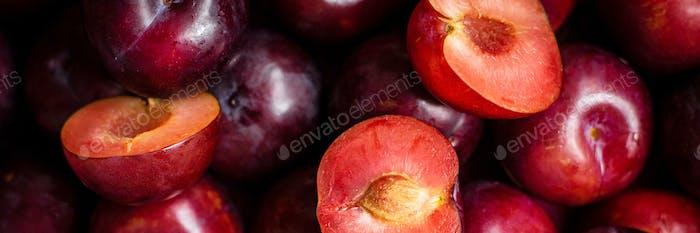 Red plum patterned background summer wallpaper
