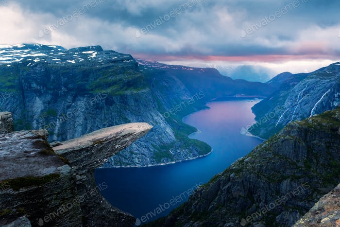 Breathtaking view of Trolltunga rock