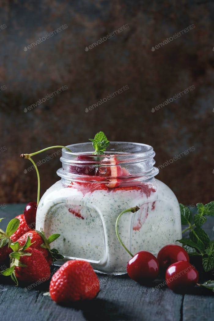 Yogurt with mint and cherry
