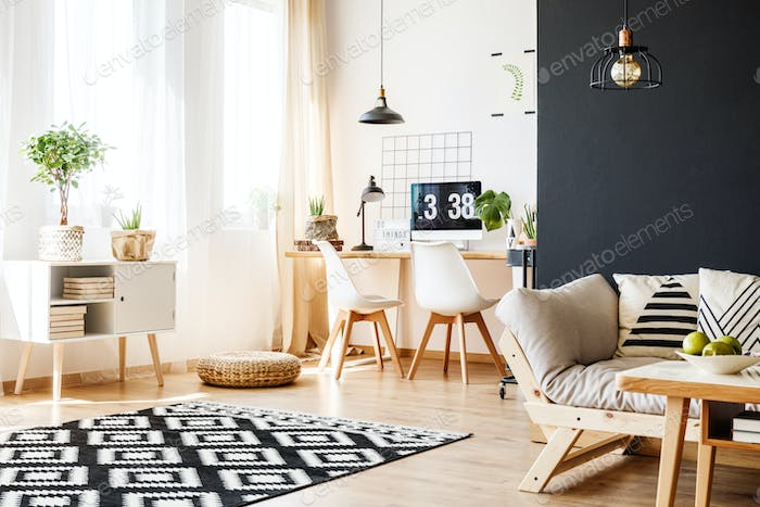 Study space with scandinavian furniture