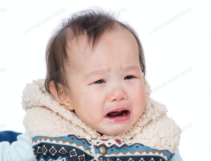 Asian baby girl crying