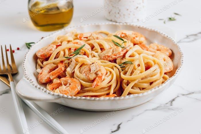 Pasta tagliatelle with shrimps