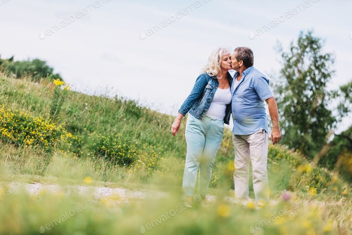 Old couple kissing on a walk.