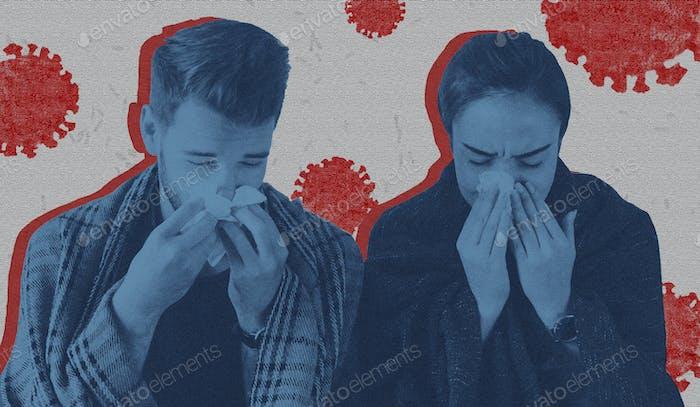 Sneezing couple with coronavirus symptom background